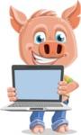 Cute Piglet Cartoon Vector Character AKA Paul the Little Piglet - Laptop 2