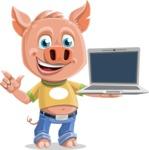 Cute Piglet Cartoon Vector Character AKA Paul the Little Piglet - Laptop 3