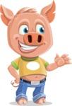Cute Piglet Cartoon Vector Character AKA Paul the Little Piglet - Showcase 2