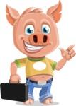 Cute Piglet Cartoon Vector Character AKA Paul the Little Piglet - Briefcase 1