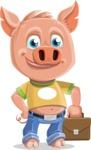 Cute Piglet Cartoon Vector Character AKA Paul the Little Piglet - Briefcase 2