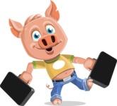 Cute Piglet Cartoon Vector Character AKA Paul the Little Piglet - Briefcase 3