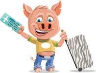 Cute Piglet Cartoon Vector Character AKA Paul the Little Piglet - Travel 1