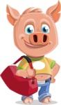 Cute Piglet Cartoon Vector Character AKA Paul the Little Piglet - Travel 2
