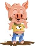 Cute Piglet Cartoon Vector Character AKA Paul the Little Piglet - Mud