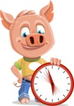 Cute Piglet Cartoon Vector Character AKA Paul the Little Piglet - Time is Yours