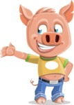 Cute Piglet Cartoon Vector Character AKA Paul the Little Piglet - Show