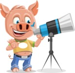 Cute Piglet Cartoon Vector Character AKA Paul the Little Piglet - Telescope