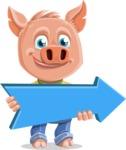 Cute Piglet Cartoon Vector Character AKA Paul the Little Piglet - Pointer 2