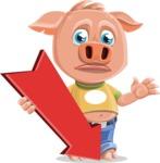 Cute Piglet Cartoon Vector Character AKA Paul the Little Piglet - Pointer 3