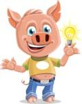 Cute Piglet Cartoon Vector Character AKA Paul the Little Piglet - Idea 2