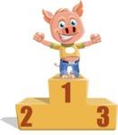 Cute Piglet Cartoon Vector Character AKA Paul the Little Piglet - On Top