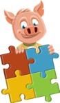 Cute Piglet Cartoon Vector Character AKA Paul the Little Piglet - Puzzle