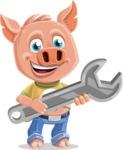 Cute Piglet Cartoon Vector Character AKA Paul the Little Piglet - Repair