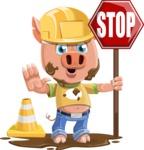 Cute Piglet Cartoon Vector Character AKA Paul the Little Piglet - Under Construction 1