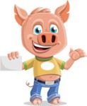 Cute Piglet Cartoon Vector Character AKA Paul the Little Piglet - Sign 1