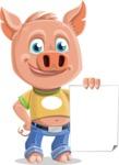 Cute Piglet Cartoon Vector Character AKA Paul the Little Piglet - Sign 2