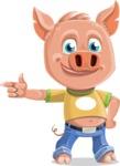 Cute Piglet Cartoon Vector Character AKA Paul the Little Piglet - Point