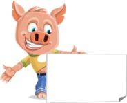 Cute Piglet Cartoon Vector Character AKA Paul the Little Piglet - Sign 7
