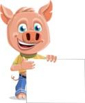 Cute Piglet Cartoon Vector Character AKA Paul the Little Piglet - Sign 8