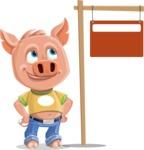 Cute Piglet Cartoon Vector Character AKA Paul the Little Piglet - Sign 9