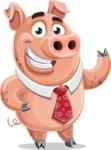 Pig with a Tie Cartoon Vector Character AKA Smokey Hans - Normal