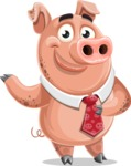 Pig with a Tie Cartoon Vector Character AKA Smokey Hans - Point 2