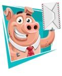 Pig with a Tie Cartoon Vector Character AKA Smokey Hans - Shape 2