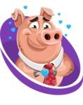 Pig with a Tie Cartoon Vector Character AKA Smokey Hans - Shape 3