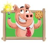 Pig with a Tie Cartoon Vector Character AKA Smokey Hans - Shape 4