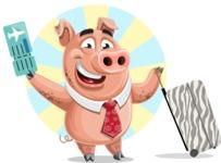Pig with a Tie Cartoon Vector Character AKA Smokey Hans - Shape 5