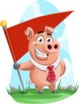 Pig with a Tie Cartoon Vector Character AKA Smokey Hans - Shape 6
