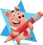 Pig with a Tie Cartoon Vector Character AKA Smokey Hans - Shape 7