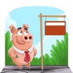 Pig with a Tie Cartoon Vector Character AKA Smokey Hans - Shape 9