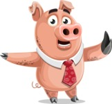 Pig with a Tie Cartoon Vector Character AKA Smokey Hans - Direct Attention