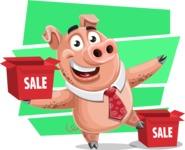 Pig with a Tie Cartoon Vector Character AKA Smokey Hans - Shape 10