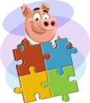 Pig with a Tie Cartoon Vector Character AKA Smokey Hans - Shape 11
