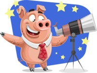 Pig with a Tie Cartoon Vector Character AKA Smokey Hans - Shape 12
