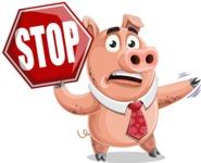 Pig with a Tie Cartoon Vector Character AKA Smokey Hans - Stop