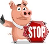 Pig with a Tie Cartoon Vector Character AKA Smokey Hans - Stop 2