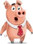 Pig with a Tie Cartoon Vector Character AKA Smokey Hans - Stunned