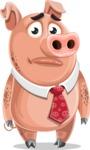 Pig with a Tie Cartoon Vector Character AKA Smokey Hans - Sad
