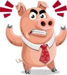 Pig with a Tie Cartoon Vector Character AKA Smokey Hans - Angry