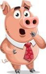 Pig with a Tie Cartoon Vector Character AKA Smokey Hans - Shocked
