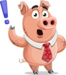 Pig with a Tie Cartoon Vector Character AKA Smokey Hans - Attention