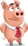 Pig with a Tie Cartoon Vector Character AKA Smokey Hans - Roll Eyes