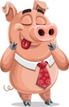 Pig with a Tie Cartoon Vector Character AKA Smokey Hans - Silly Face