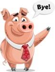 Pig with a Tie Cartoon Vector Character AKA Smokey Hans - GoodBye