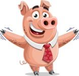 Pig with a Tie Cartoon Vector Character AKA Smokey Hans - Hello