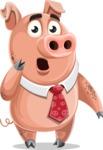 Pig with a Tie Cartoon Vector Character AKA Smokey Hans - Oops